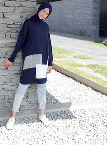 Navy Blue - Geometric - Crew neck -  Tunic