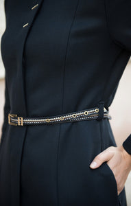 Long abaya embroidered belt