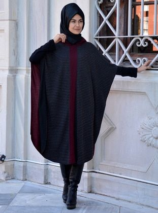 Maroon - Unlined - Wool Blend - Acrylic - Poncho