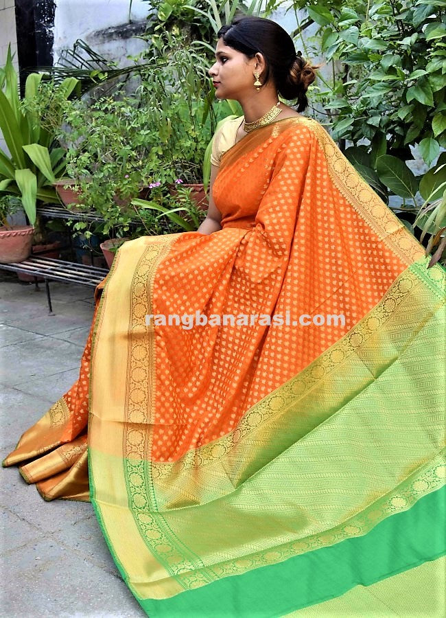 c30be50809 Banarasi Art Silk Saree with Green Pallu on Ektara Single Katan Weaving-  Orange ...