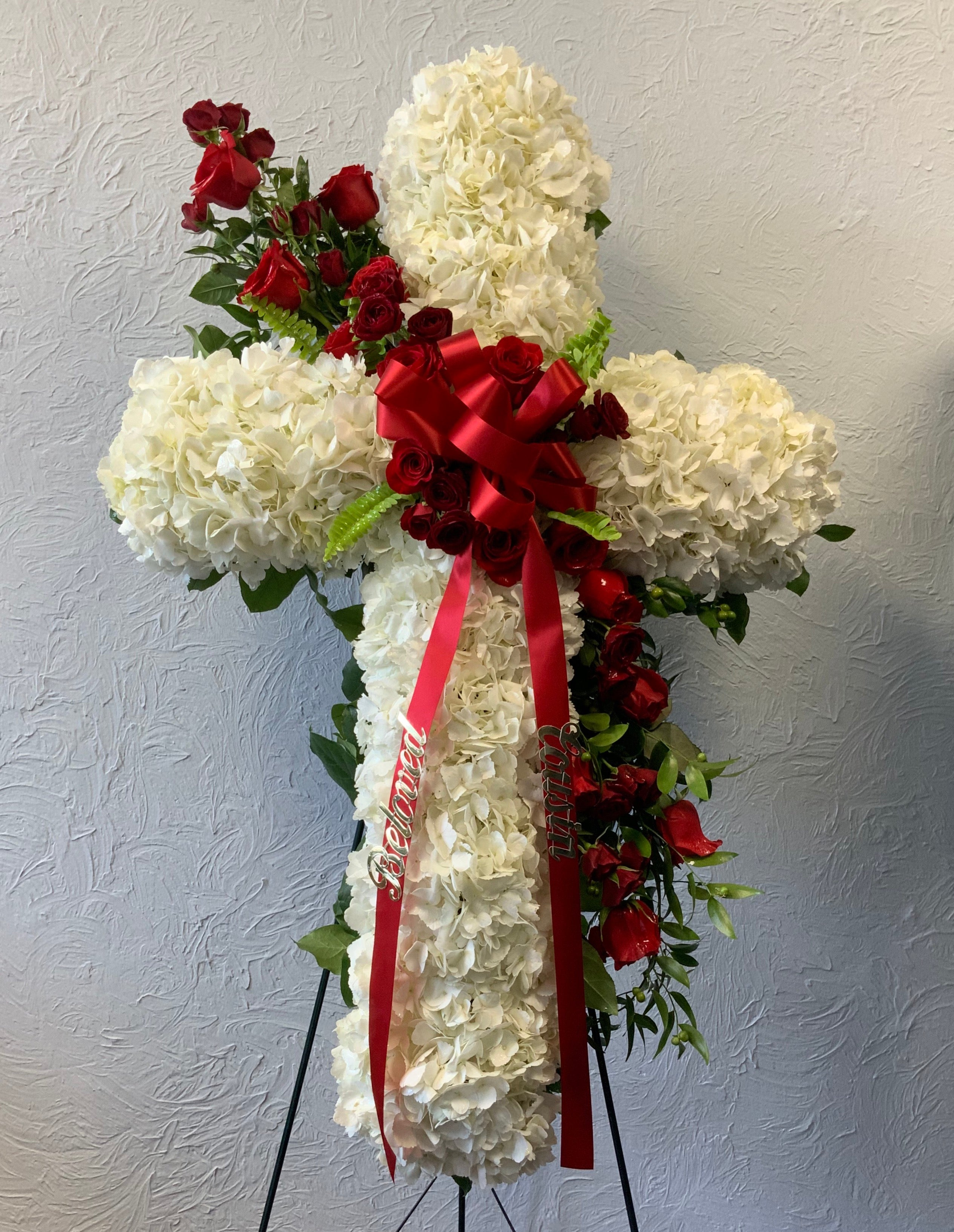 Sympathy Cross in White and Red
