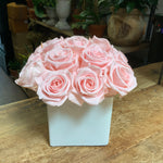 15 Preserved Roses in White Glass Cube  Pink