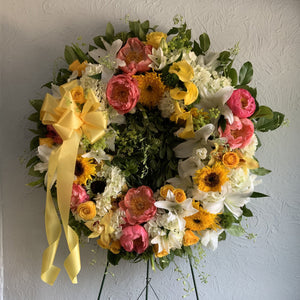Sympathy Wreath in Pastel