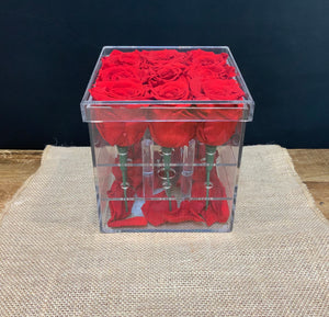 9 Preserved Roses in Decorative Acrylic Box