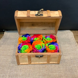 6 Preserved Rainbow Roses in Wooden Treasure Box