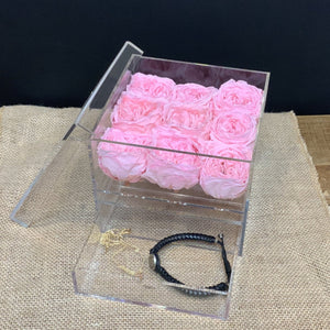9 Preserved Pink Roses in Acrylic Jewelry Box
