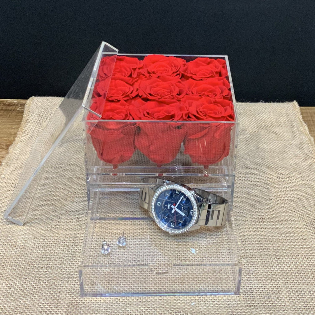 9 Preserved Red Roses in Acrylic Jewelry Box