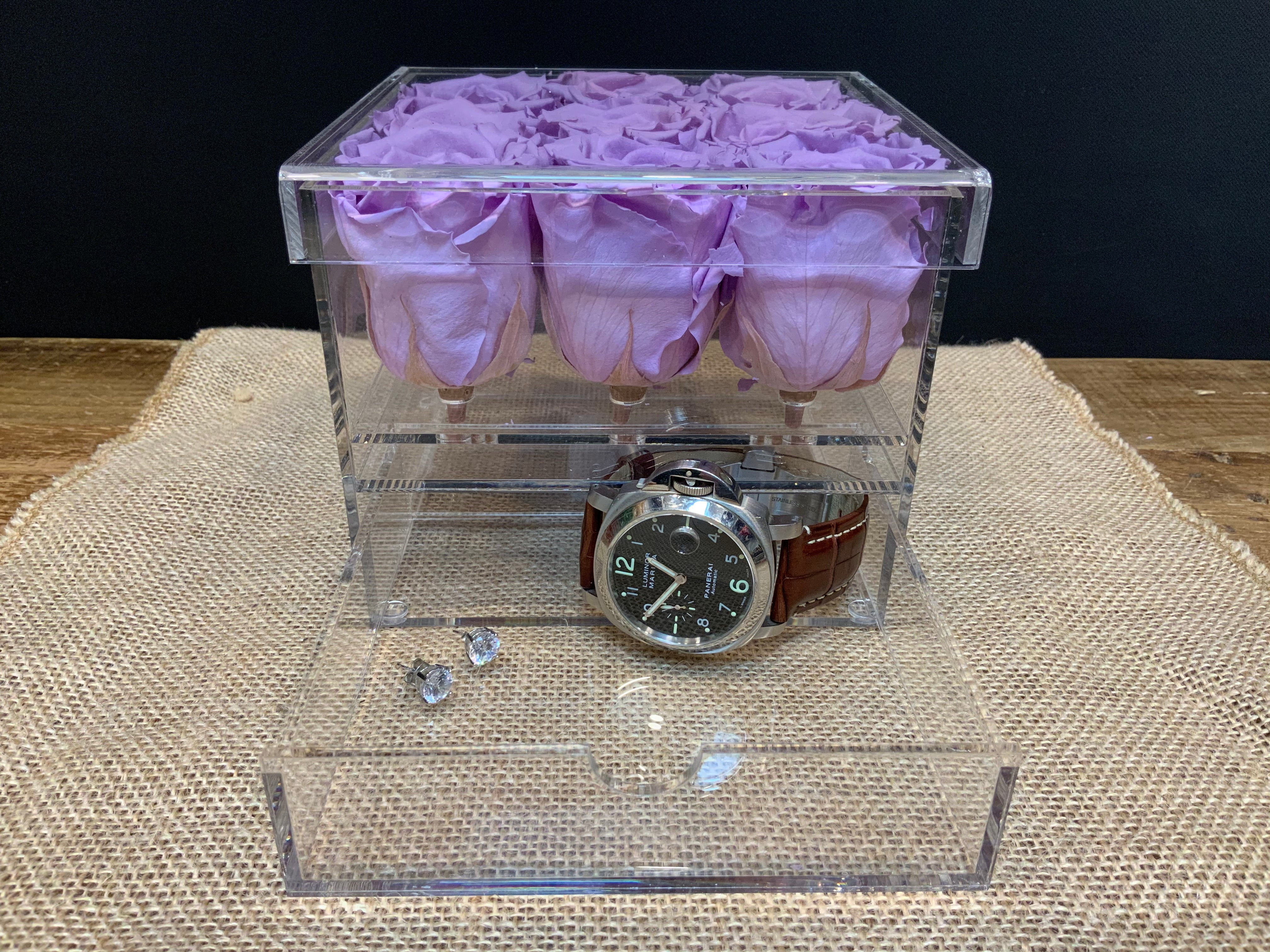 9 Preserved Lavender Roses in Acrylic Jewelry Box