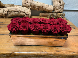 1 Dozen Roses in Rectangular Rose-Gold Mirror Vessel