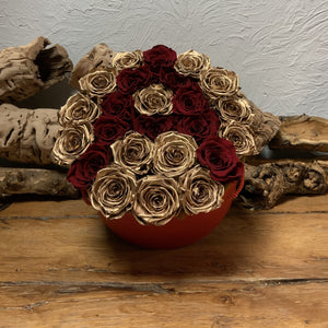 Gold Preserved Roses with Personalized Red Rose Initial in Red Hat Box