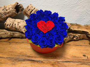 Royal Blue Preserved Roses with Heart Center in Red Hat Box