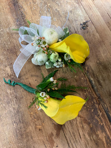 Wristlet and Boutonnière Yellow and White