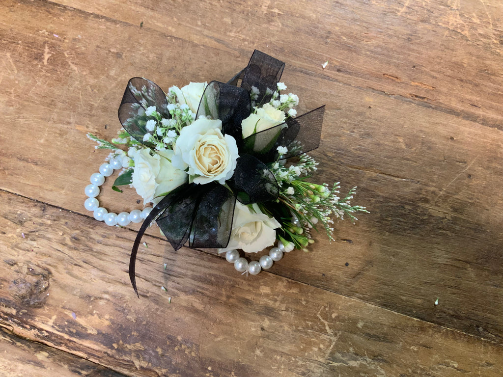 Wristlet Corsage Black and White