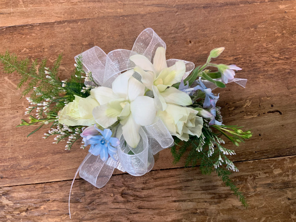 Wristlet Corsage White and Blue
