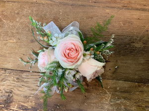 Wristlet Corsage Blush and white