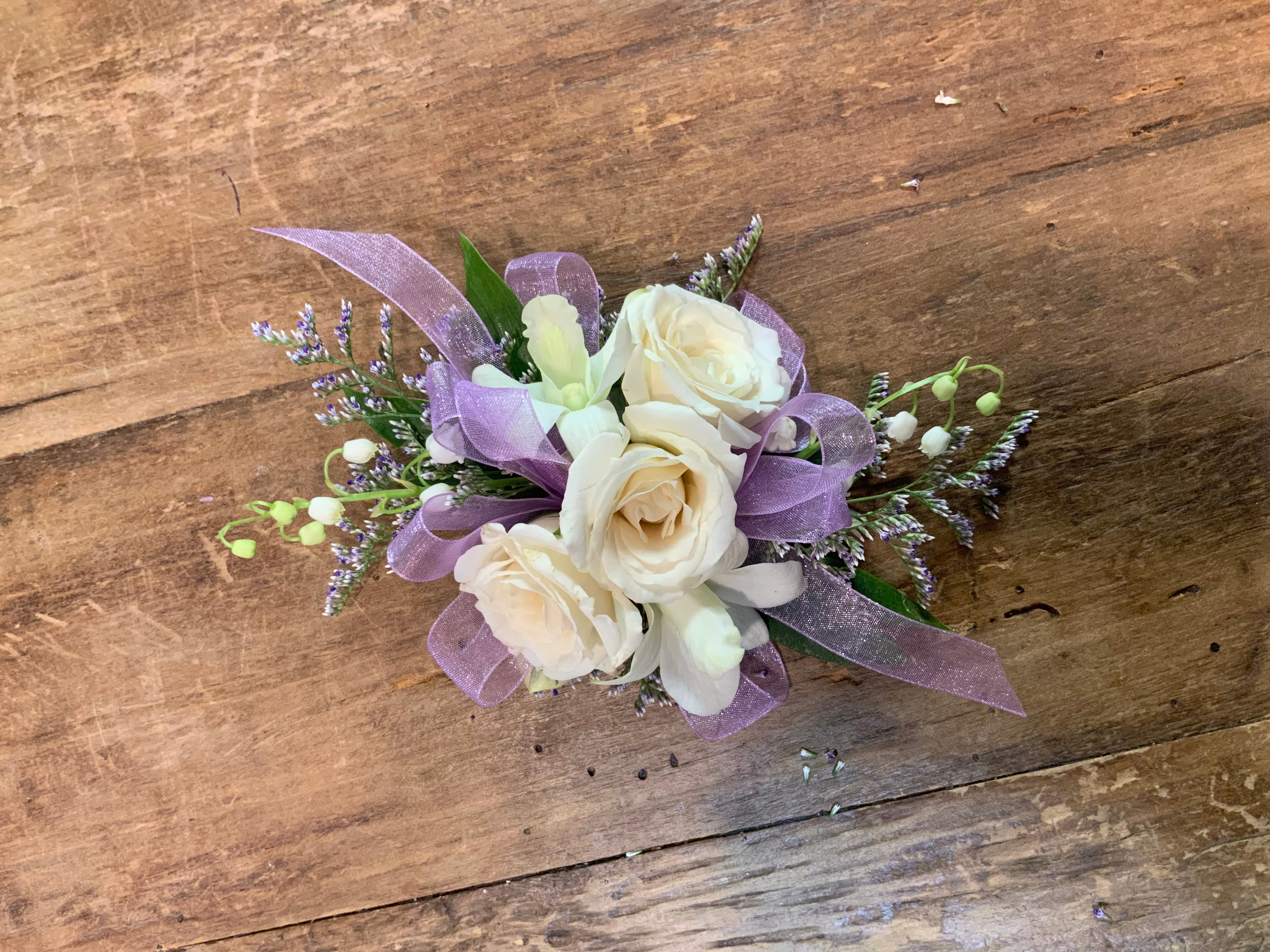 Wristlet Corsage Lavender and White