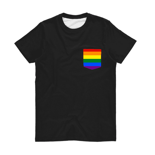 PrideAllYear.com|Rainbow Pride ufeffClassic Sublimation Pocket T-Shirt