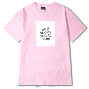 Anti Social Social Club Pink- White Logo Tee