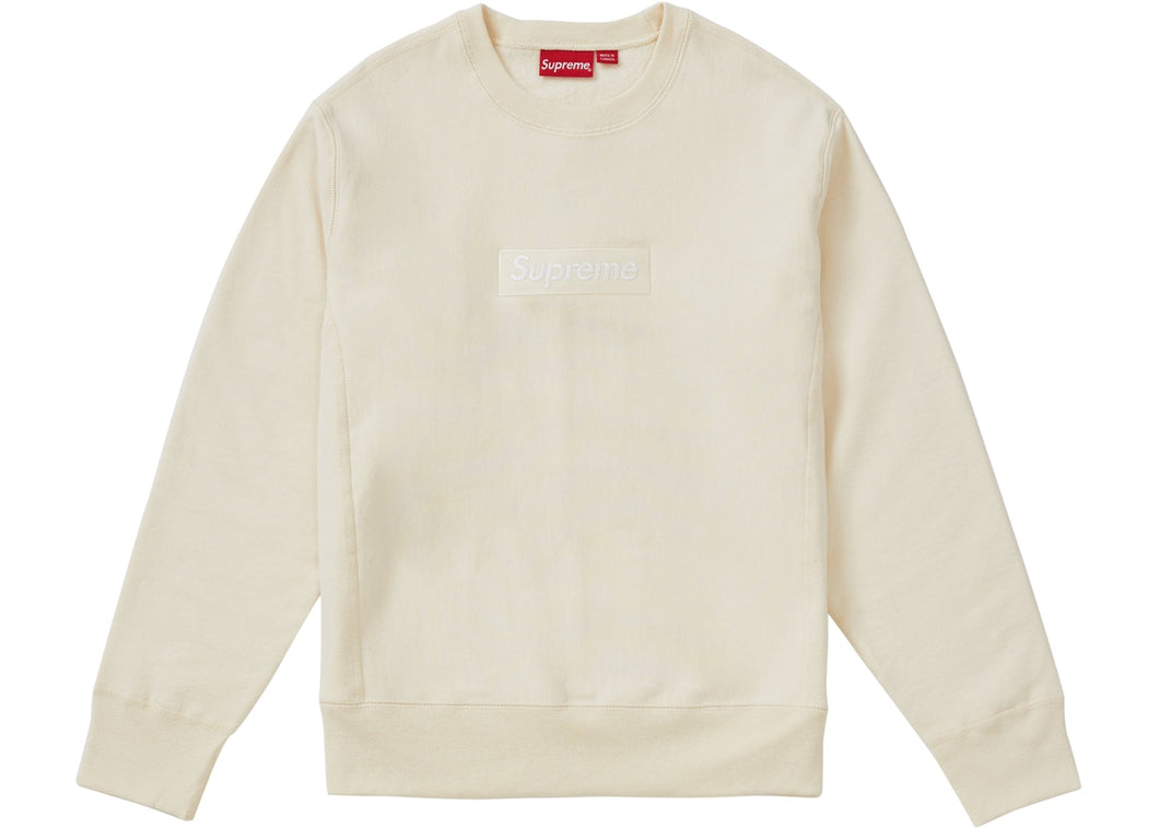 Supreme FW18 Box Logo Crewneck-Natural