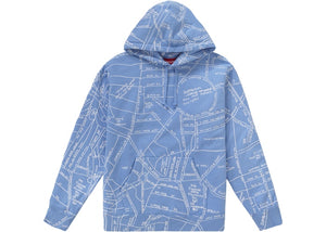 Supreme SS19 Gonz Embroidered Map Hooded Sweatshirt Columbia Blue
