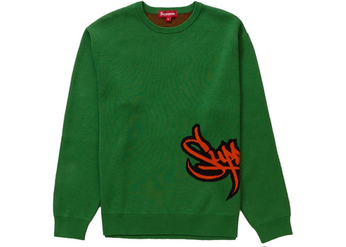 Supreme SS19 Tag Logo Sweater - Green
