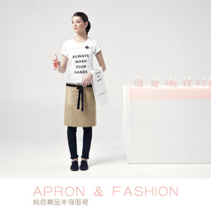 Ins wind half-length apron female boutique fashion simple restaurant barista senior tide brand short half waist custom
