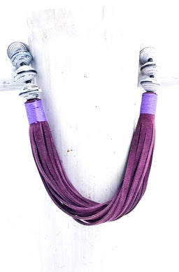 Anabelle Necklace in Purple and White/Gray Paper Beads