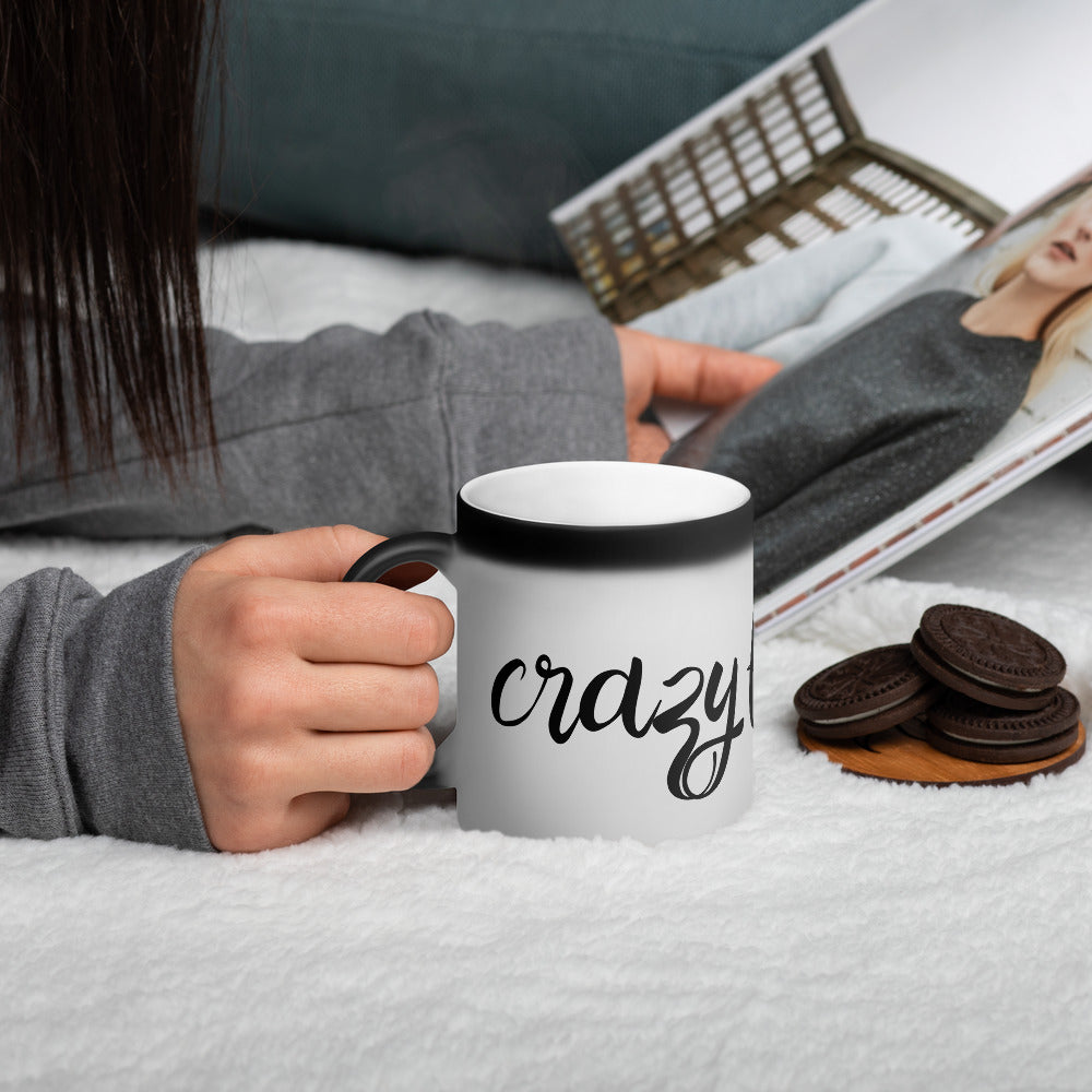 Crazy Filipina Matte Black Magic Mug