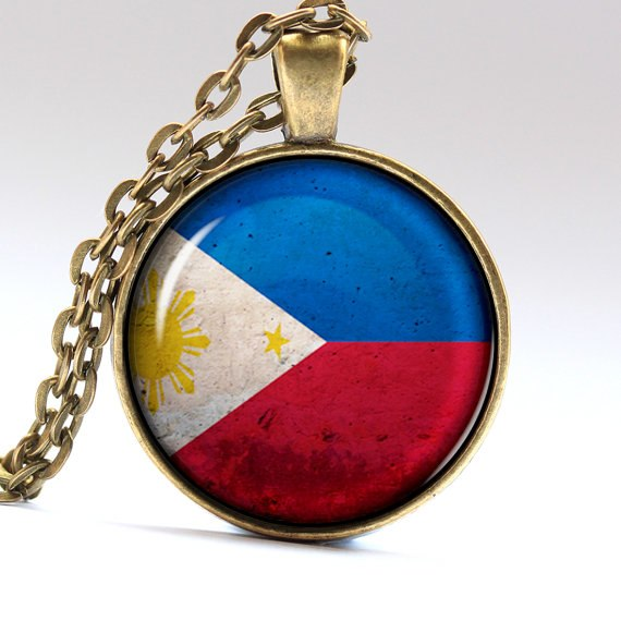 Vintage Handmade Philippine Flag in Glass Dome Pendant and Bronze Chain