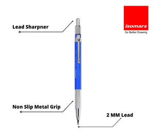 Isomars Mechanical Drafting Pencil 2mm with built-in sharpener and 10 Leads Free
