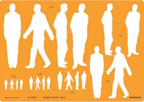 Isomars Human Figure Male Multi-Scale Technical Drawing Template Stencil