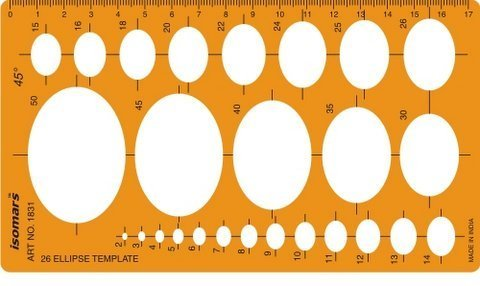 Isomars Metric 45 Degrees Ellipse Ellipses Shapes Symbols Drawing Drafting Template Stencil