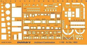 Isomars Metric 1:100 Scale Architectural Drawing Template Stencil - Furniture Symbols for House Interior Floor Plan Design