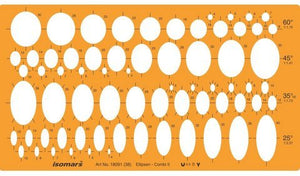 Isomars Ellipses Drafting Designing Template Stencil - Assorted Sizes and Degrees