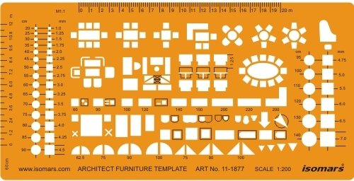 Isomars1:200 Scale Architectural Drawing Template Stencil - Architect Technical Drafting Supplies