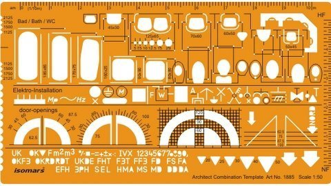 Isomars Architectural Drafting Combination Template Stencil- Plan View