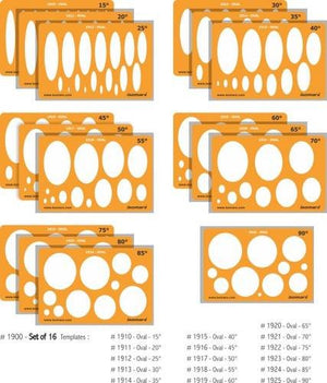 Isomars Car Designing Templates Set of 16 - Oval Shapes