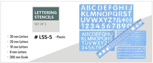 Isomars Lettering Stencil Set of 5 With 4 Stencils & 12 '' Ruler