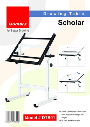"Isomars Drawing Board Table - Scholar with White Laminated Board 25.5""x35"" and Parallel Bar 32"""