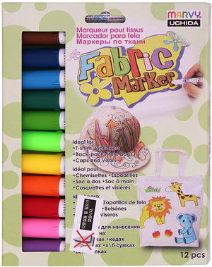 Marvy Uchida Permanent Fabric Marker Set of 12 - Made in Japan
