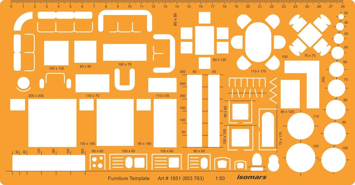 Isomars 1:50 Architectural Drawing Template Stencil-Furniture Symbols for House Interior Floor Plan Design