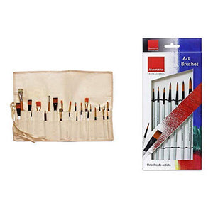 Isomars Brush Roll Up Case with Set of 7 Round Brushes for Painting