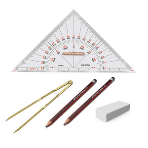 Isomars Universal Nautical Protractor with Marine/Nautical Divider, Two Pencils and Eraser