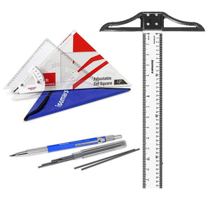 "Isomars Adjustable Set Square 10"", T-Square 24"" & Mechanical Pencil 2mm with 10 Leads"