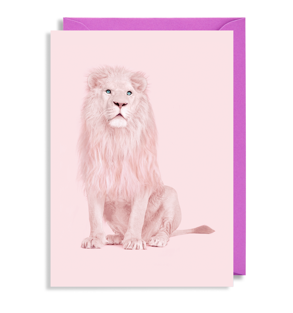 Pink Lion Greetings Card
