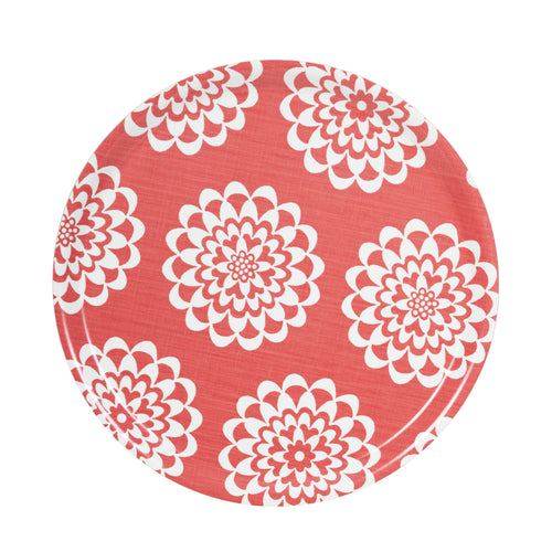 LYCKA ROUND BIRCH TRAY -  CORAL