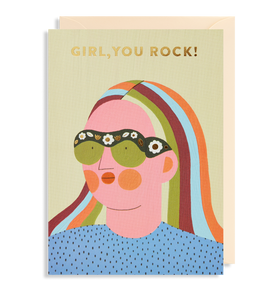 Girl, you rock! Greetings Card