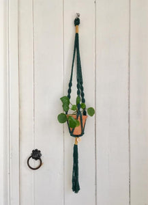 Macrame Pot Hanger - Ayra Green+Gold