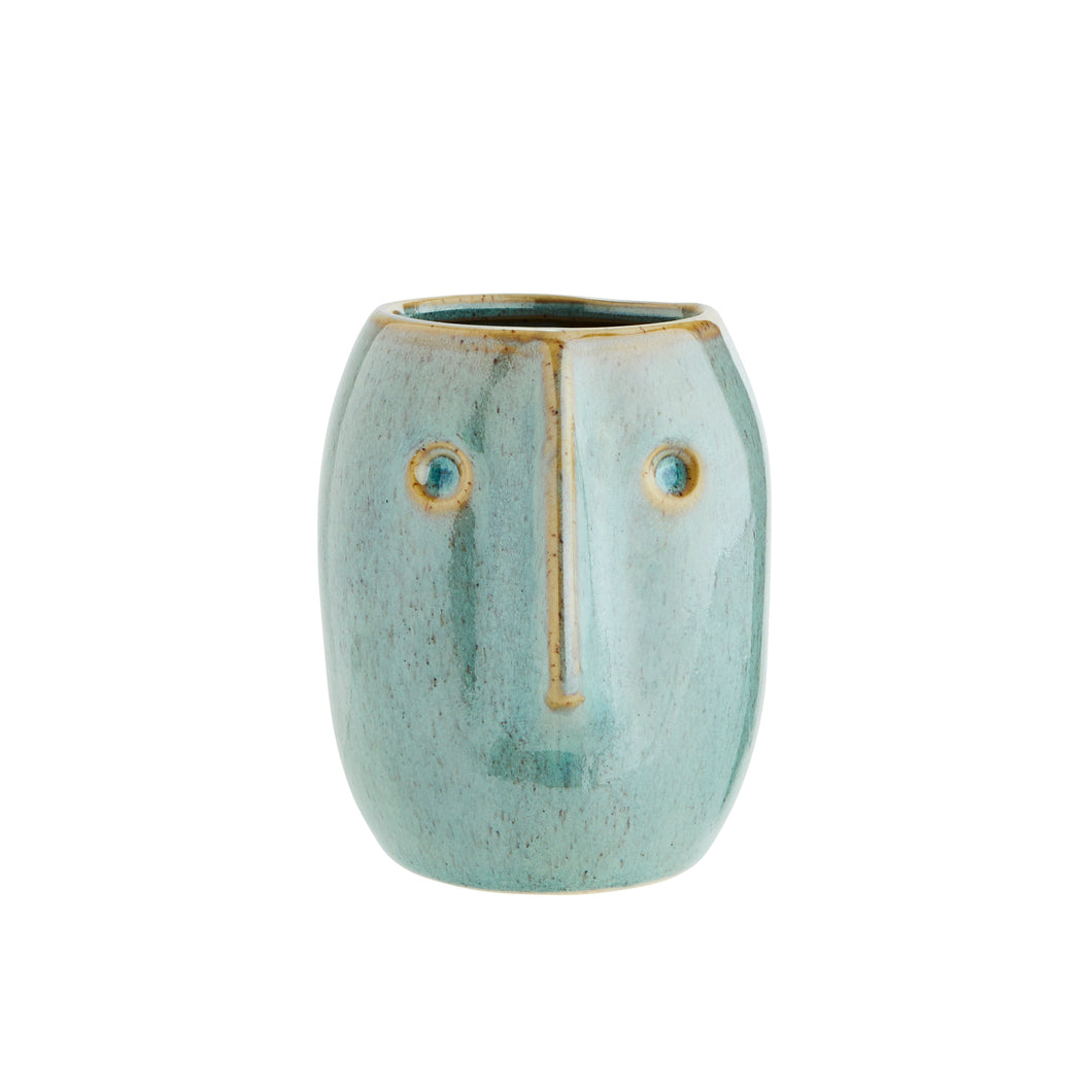Long Face Small Plant Pot - Green