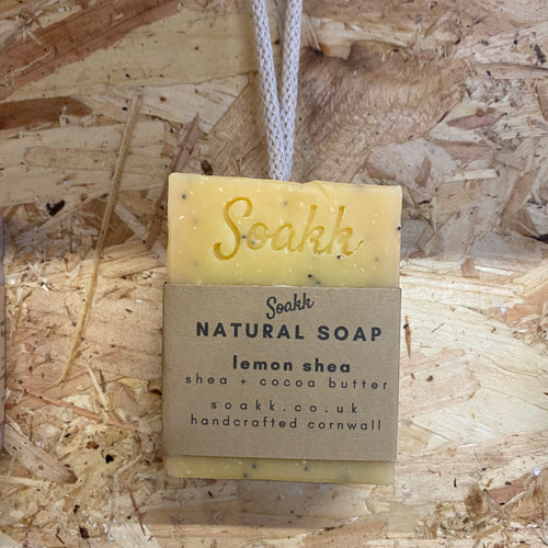 Lemon + Shea + Cocoa Butter Natural soap on a rope